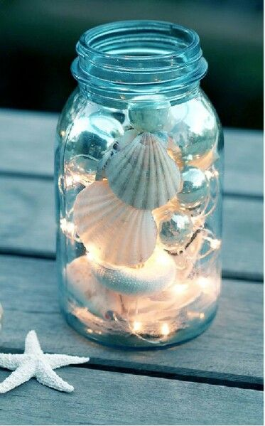 seashells mason jars