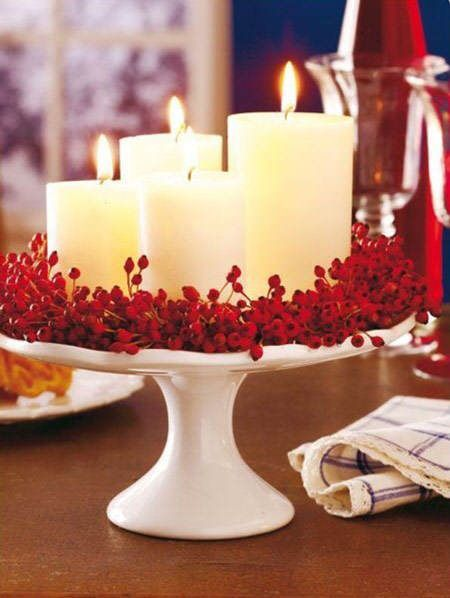 white candles and red ornaments