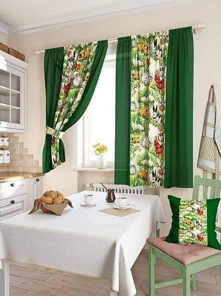 green curtains