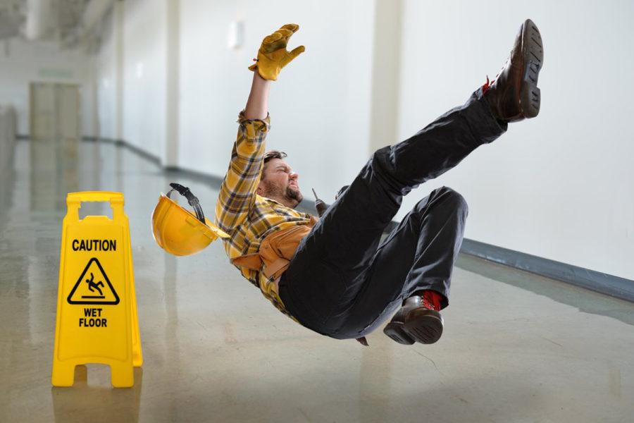 falling on wet floor