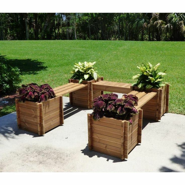 built in bench flower pots