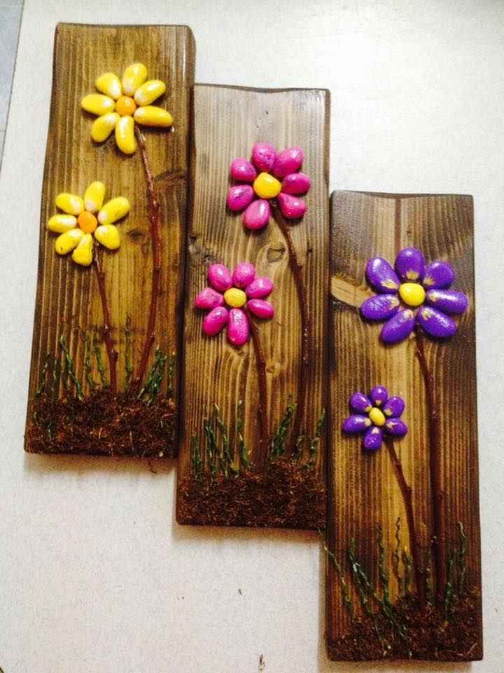 make colored rocks flowers